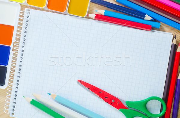 школьные принадлежности пер карандашом таблице зеленый синий Сток-фото © tycoon