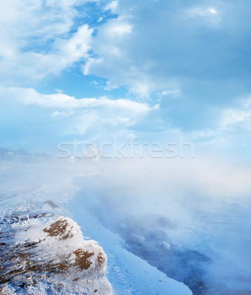 Tél égbolt mező jég zöld kék Stock fotó © tycoon