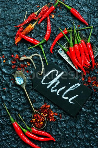 Chili czarny tabeli żywności zielone Zdjęcia stock © tycoon