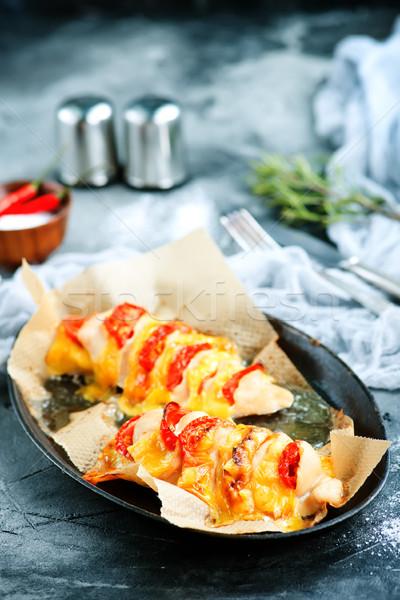 Csirkemell sajt paradicsom hús kés villa Stock fotó © tycoon