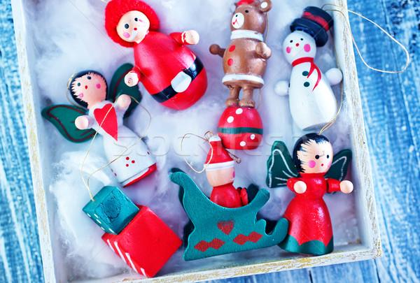 Navidad decoración blanco cuadro mesa textura Foto stock © tycoon