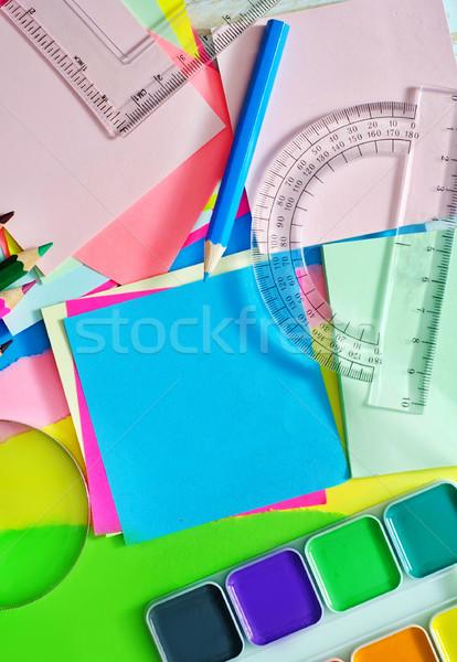 Tanszerek iskola diák ceruza notebook szín Stock fotó © tycoon