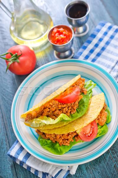 タコス ディナー プレート 肉 トウモロコシ トマト ストックフォト © tycoon