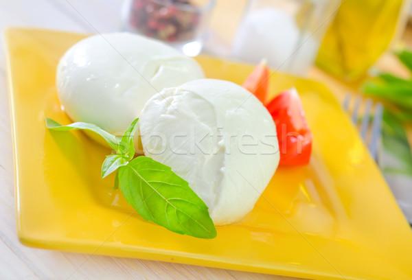 Mozzarella háttér csoport sajt piros fehér Stock fotó © tycoon