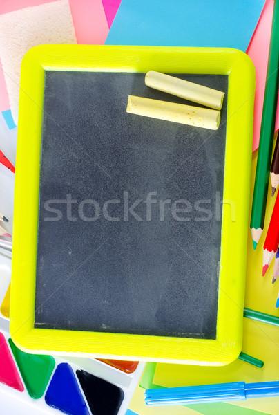 Okul malzemeleri boya kalem iletişim renk kolej Stok fotoğraf © tycoon