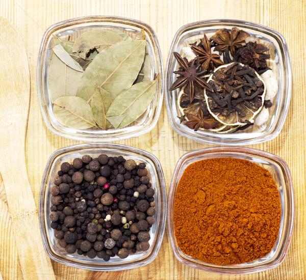 Lezzet baharat doğa arka plan tablo grup Stok fotoğraf © tycoon