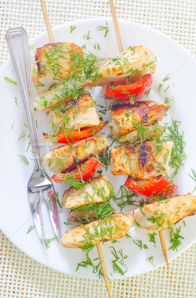 Kebab achtergrond kip diner plaat vlees Stockfoto © tycoon
