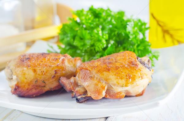 Brathähnchen Essen Brust Huhn Öl Platte Stock foto © tycoon