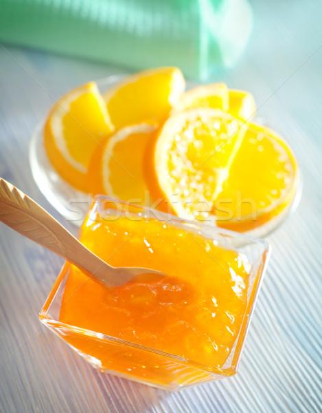 Citrus jam glas oranje ontbijt citroen Stockfoto © tycoon