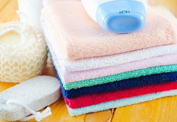 Xampu corpo lavar toalhas flores azul Foto stock © tycoon