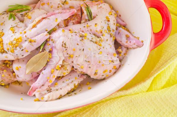 Foto stock: Frango · asas · comida · verde · jantar · pele