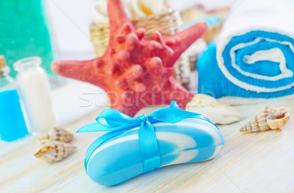 Zeep handdoeken zee achtergrond groene geneeskunde Stockfoto © tycoon