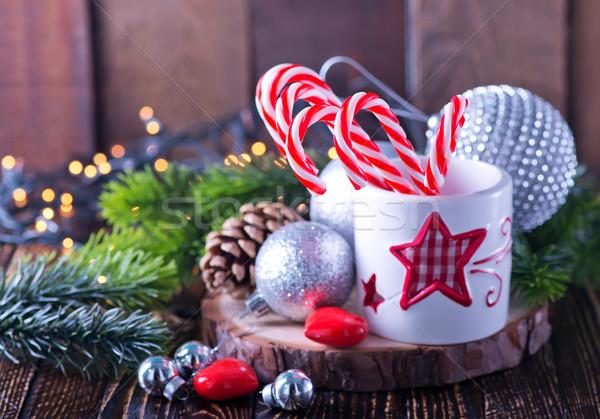 Natal decoração doce branco vidro tabela Foto stock © tycoon