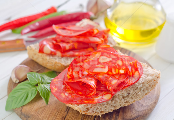bread with salami Stock photo © tycoon