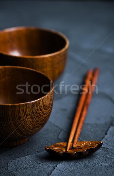 Drewna puchar pałeczki do jedzenia tabeli bambusa Zdjęcia stock © tycoon