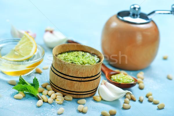 Fresco pesto tigela tabela saúde cozinha Foto stock © tycoon