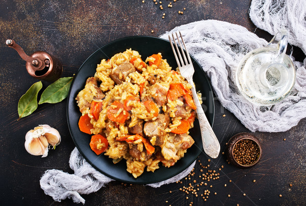 Fried Rice with Vegetables and Meat Stock photo © tycoon
