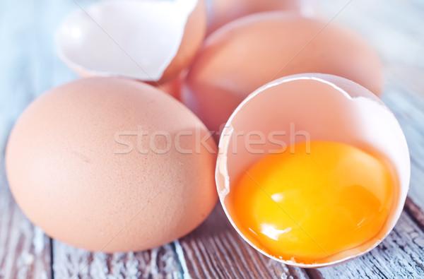 сырой яйца таблице куриные продовольствие природы Сток-фото © tycoon