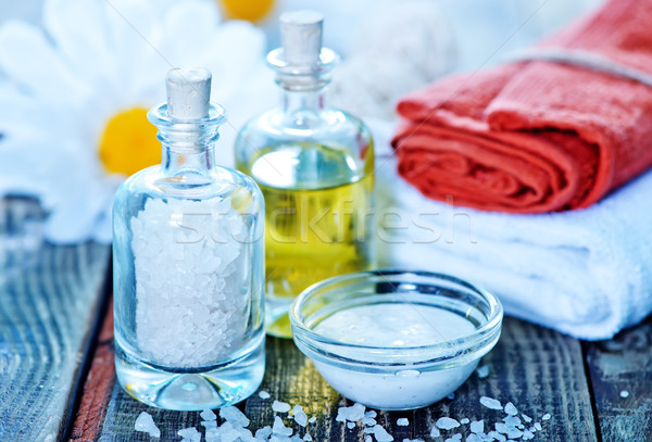 sea salt and oil in bottles Stock photo © tycoon