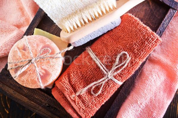 Asciugamani sapone aroma legno finestra fiore Foto d'archivio © tycoon