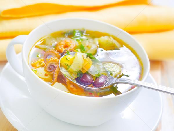 Vers soep diner Rood citroen vork Stockfoto © tycoon