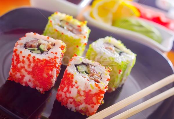 Szusi hal fehér japán rizs edény Stock fotó © tycoon