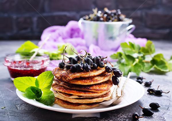 Palacsinták édes lekvár tányér étel háttér Stock fotó © tycoon