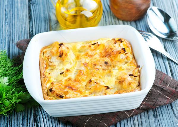 カリフラワー 卵 チーズ 料理 カトラリー ストックフォト © tycoon