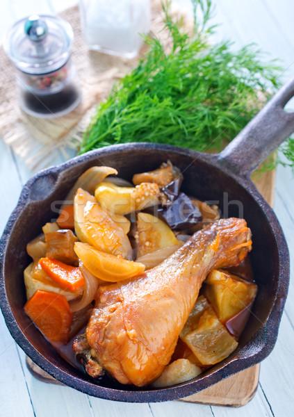 Frango assado legumes mel refeição em prato Foto stock © tycoon
