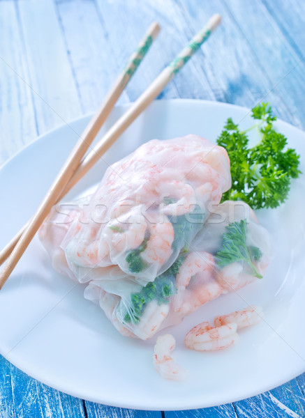 Stock photo: rolls with shrimps