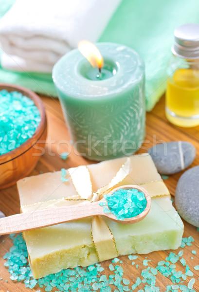 Sel de mer savon lumière vert médecine bleu Photo stock © tycoon