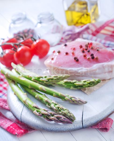 Greggio carne asparagi alimentare sfondo ristorante Foto d'archivio © tycoon