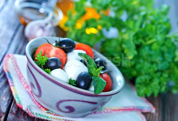 салат Капрезе чаши таблице молоко красный пластина Сток-фото © tycoon