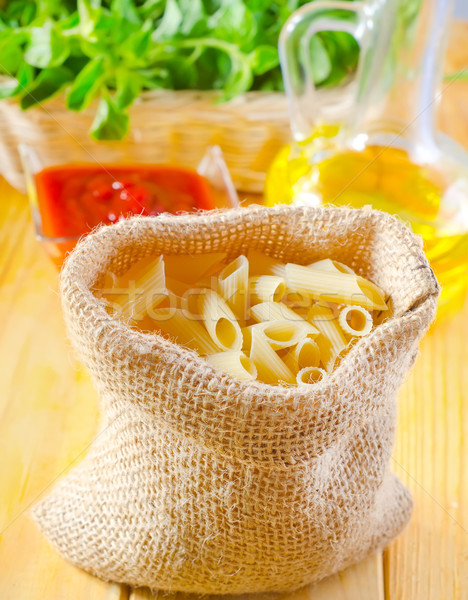 Close-up of assorted pasta in jute bag Stock photo © tycoon