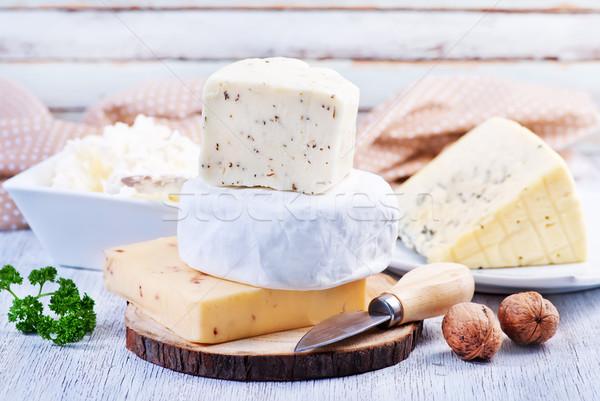 Peynir tahta tablo gıda grup beyaz Stok fotoğraf © tycoon