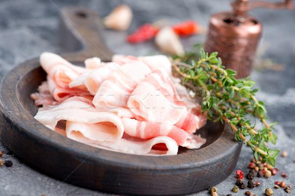 Szalonna tábla asztal vacsora hús kövér Stock fotó © tycoon
