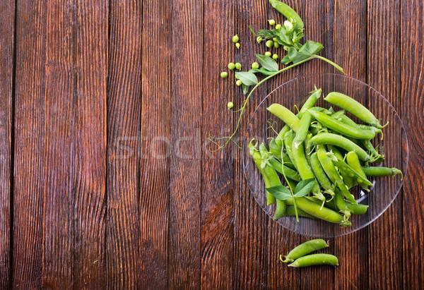 Vert pois plaque table alimentaire laisse Photo stock © tycoon