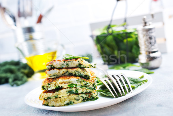 omelette with spinach Stock photo © tycoon