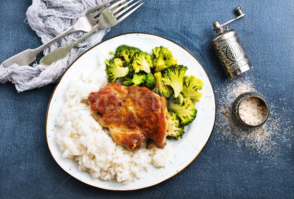 Rizs hús főtt fehér brokkoli grillezett hús Stock fotó © tycoon