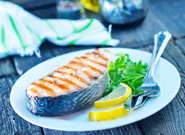 жареный лосося пластина таблице лимона вилка Сток-фото © tycoon