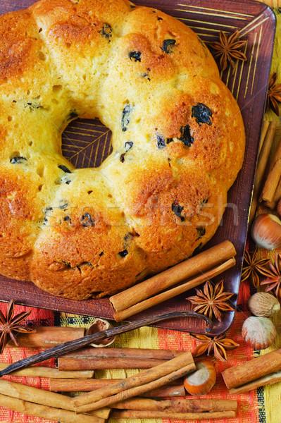 Torta madera mesa desayuno Navidad vacaciones Foto stock © tycoon