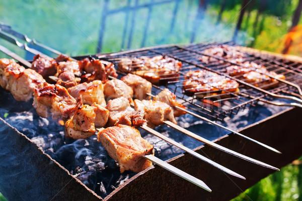 Kebap gıda yangın duman akşam yemeği yağ Stok fotoğraf © tycoon