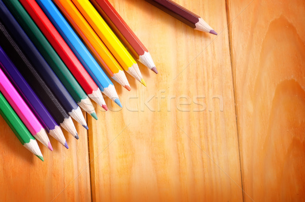 color pencils on wooden background, school supplies Stock photo © tycoon