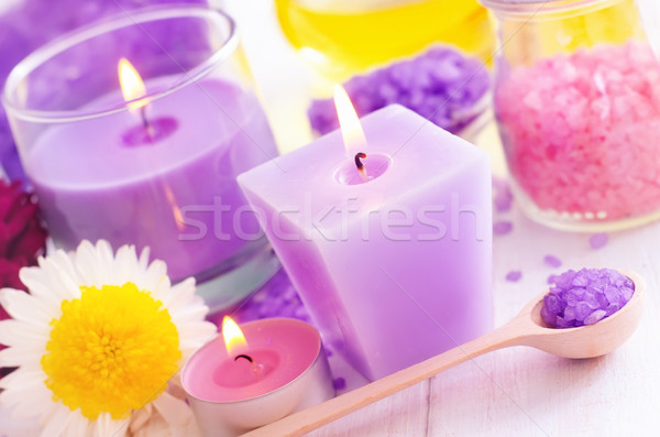 Sea salt and candle, color salt Stock photo © tycoon