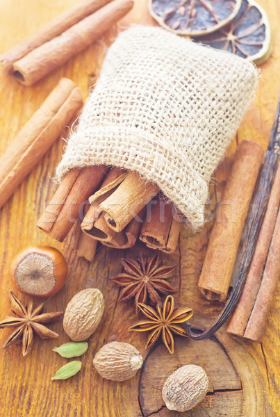 Aroma spice in the sack on the wooden board Stock photo © tycoon
