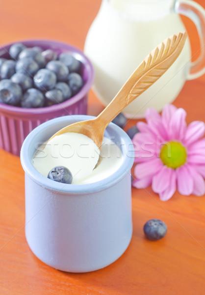 yogurt with blueberry Stock photo © tycoon