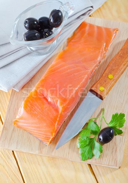 Greggio salmone pesce cucina arancione verde Foto d'archivio © tycoon