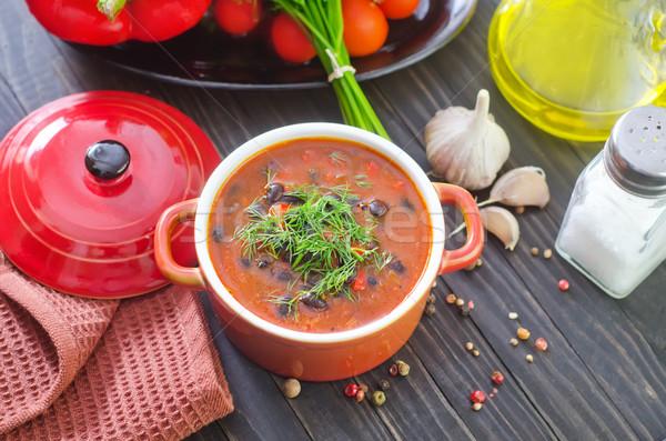 Sopa de frijol alimentos rojo carne tomate caliente Foto stock © tycoon