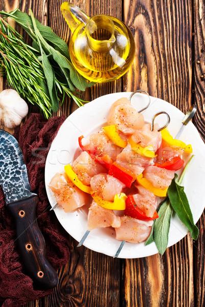Stock fotó: Kebab · nyers · tyúk · zöldségek · fehér · tányér