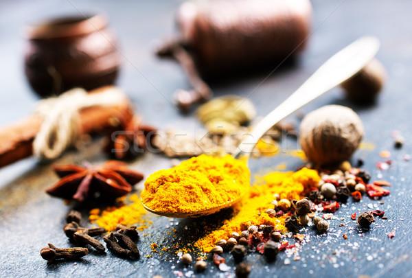 味 香料 大蒜 鹽 表 食品 商業照片 © tycoon